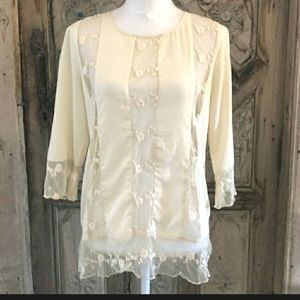 GRYPHON Cream Lace Embroidered Button Back Blouse
